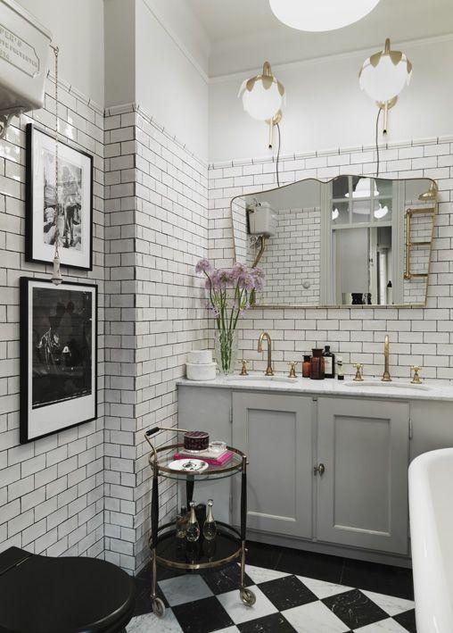 Vintage interior | Dusty Deco for Fabrique | styled by Edin Memic Kjellvertz #bathroom #tile #blackwhite #brass #photoart  #coolapartment