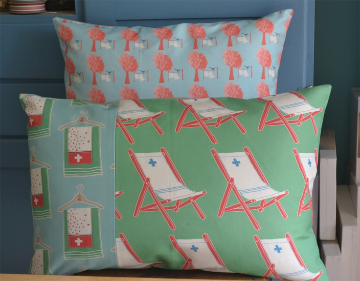 Two feather insert cushions made from some of my digital fabric prints.