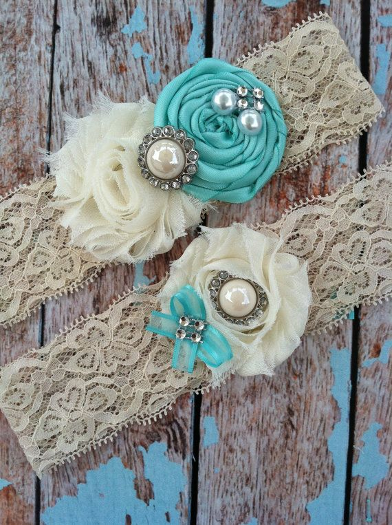 TIFFANY BLUE wedding garter / bridal  garter/