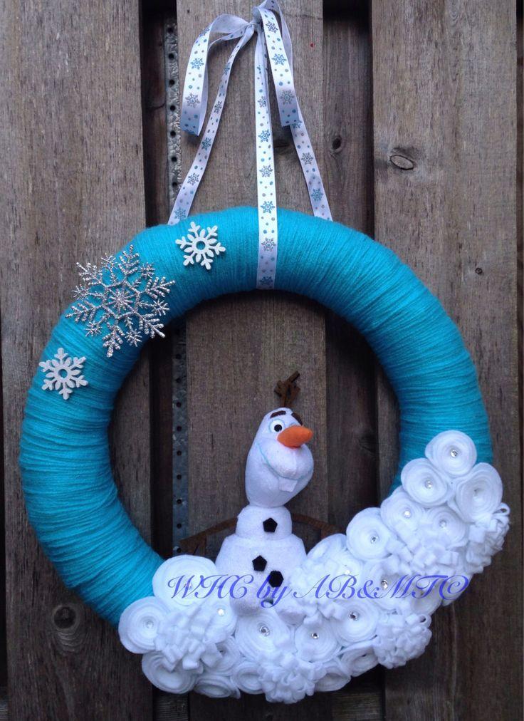 "Made-to-Order Warm Hug Welcome 16"" Aqua Yarn  Olaf Inspired Wreath by WelcomingHavenC on Etsy"