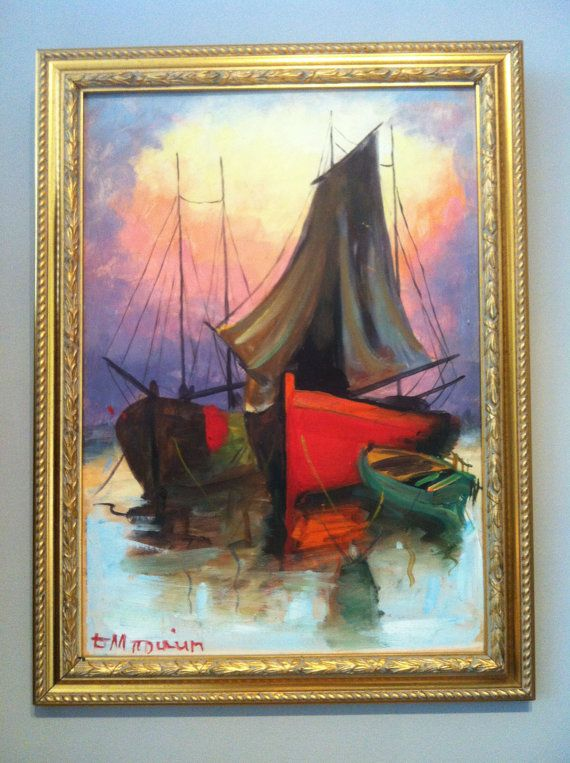 Vintage oil painting canvas on Board BOATS by TheNeroAntiquesShop