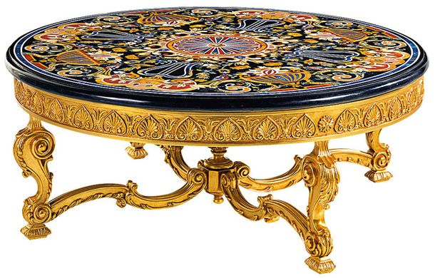 Журнальный столик, дерево, металл, мрамор, Zanaboni