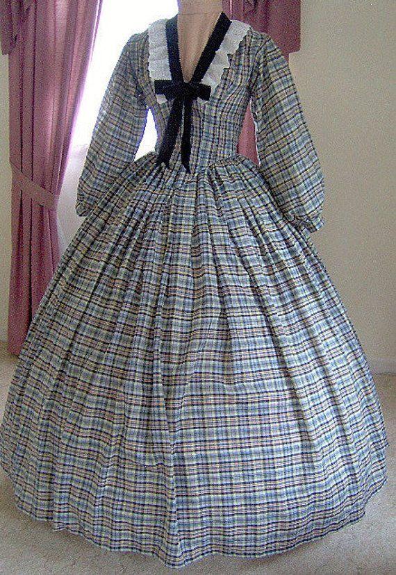 Civil War Victorian Picnic Plaid Prairie Dress Historical Cosplay Theatrical 160