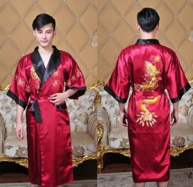 Public bathhouse Spa Chinese Robe Kimono Nightgown Dragon Sleepwear traditional chinese kimono dress men bathrobe pajamas