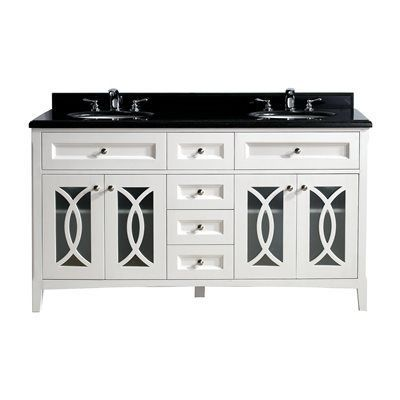 Grazia Collection 60 Inch Double Vanity with Marble Countertop (White), Size Double Vanities