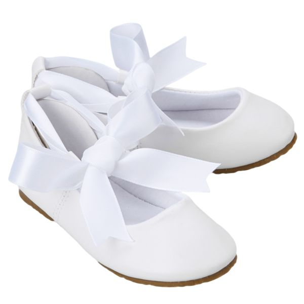 White Ballet Flats Girls Dress Shoes with Ribbon Tie (BS004)