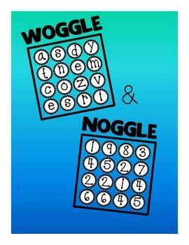 """These are bulletin board sets to help you create Boggle-style games in your classroom for students to use when finished early with work, during transition time, centers, etc.  With """"Woggle"""" they will use letters to create words, and with """"Noggle"""" they will use numbers to create number sentences."""
