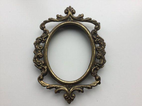 Messing Frame Oval Vintage sierlijke Frame door FunkyVintageCorner