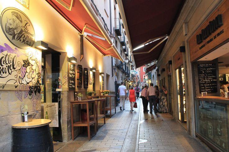 Entrance to Calle Laurel, the main tapas street in Logroño, Spain