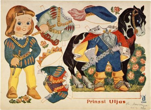 I didn't know Rudolf Koivu made paper dolls like this... it doesn't look like his work... but this is prince Valiant (prinssi Uljas)