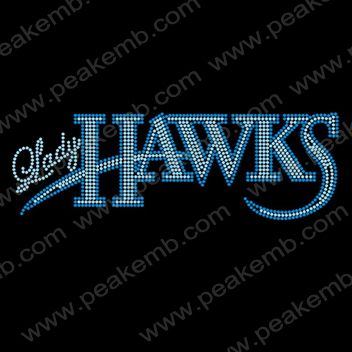 hot sale lady hawks iron on letter rhinesone transfer for t shirt 30 pcslot