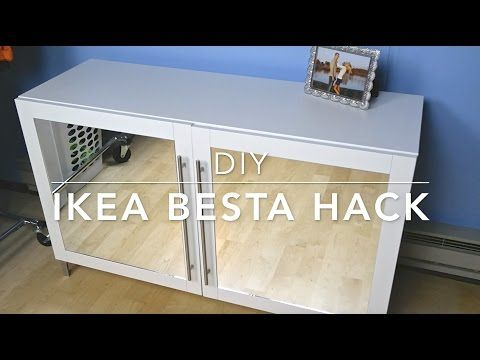 Diy ikea besta hack mirrored cabinet youtube for for Diy mirrored kitchen cabinets