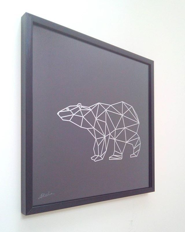 Bear Facing West  #faceted #geometric #bear #machined #acrylic hand finished in #silver and #black #jensheehan