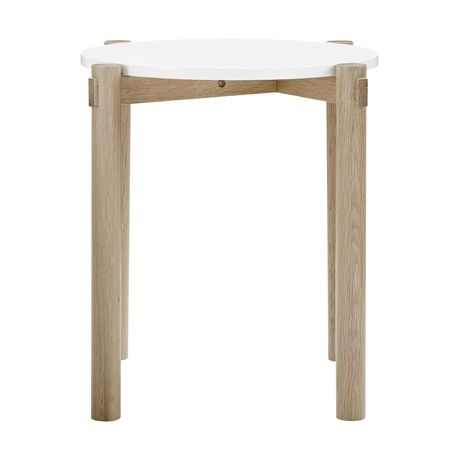 Holt Round Side Table Oak Frame with White Top
