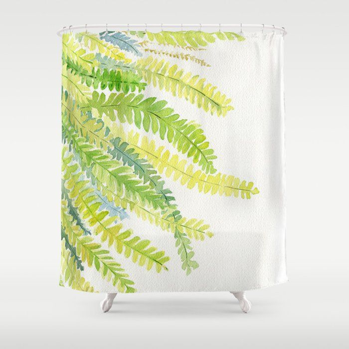 Fern Leaves Watercolor By Melly Terpening Fernleaves Indoorplant Fernlove With Images Watercolor Shower Curtain Shower Curtain Art Friend