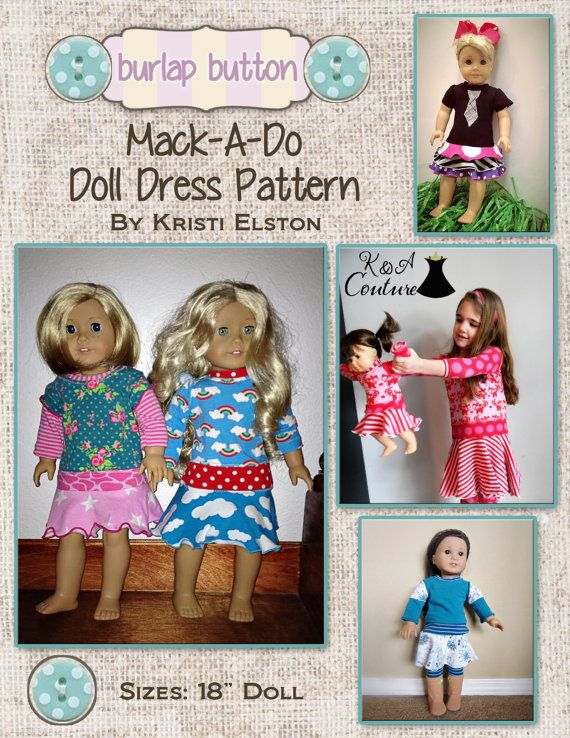 MackaDo 18in Doll Dress PDF sewing pattern by burlapbutton on Etsy, $3.00