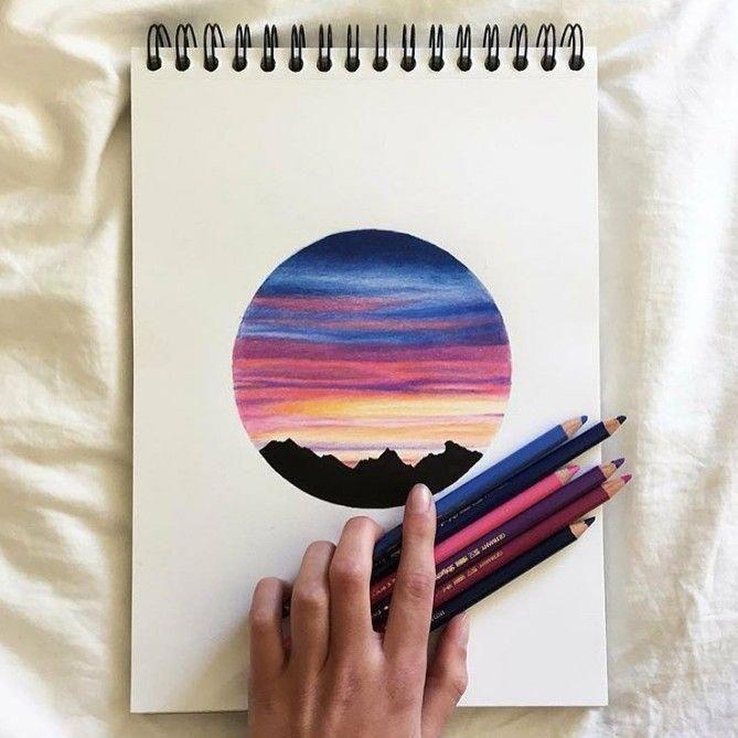 Shading Techniques Sunset Avec Crayon Couleurs Art