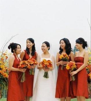 Wedding, Flowers, Bouquet, Red, Orange, Bridesmaids, Yellow, Gold