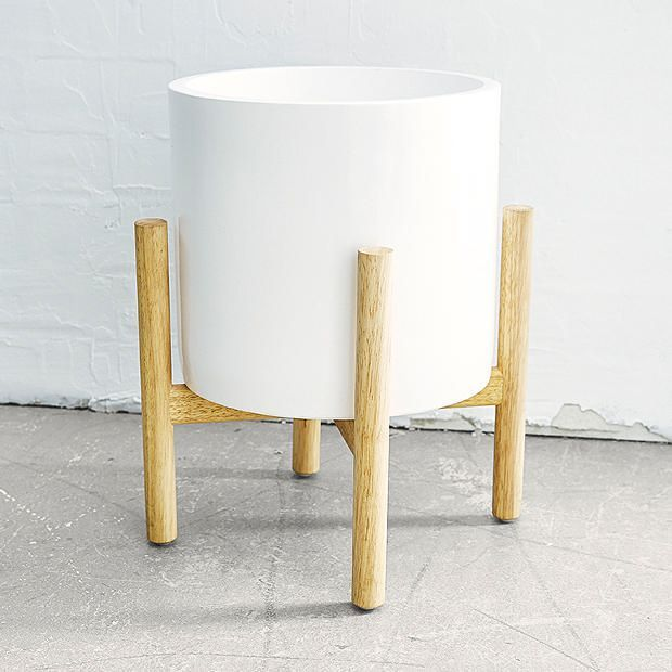 Ceramic Pot with Wooden Stand - White