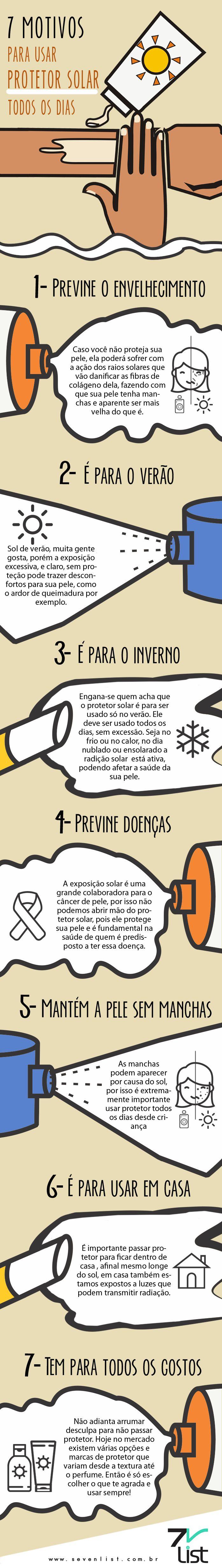 #Infográfico #Infographic #List #Lista #Sevenlist #Pele #Saúde #Bemestar #Sol #Verão #Inverno #Cuidados #Motivos #Sunblock #Filtrosolar #Sunscreen #Protetorsolar #Doenças #Câncer #Usodiário #Manchas #Acne #Envelhecimento www.sevenlist.com.br
