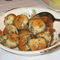 Bobalki (also spelled bobalky, babalki, babalky) are Slovak baked balls of dough. They can be served sweet with ground poppy seeds and honey, or savory with sauerkraut and onion. They are a favorite for Slovak Christmas Eve – Velija