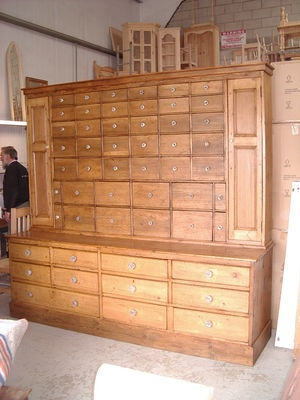 Big Antique Pine 53 Multi Drawer Apothecary Dresser