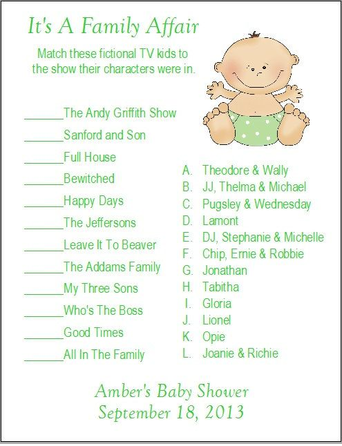 36 best baby shower ideas images on pinterest baby showers baby tv show baby name game negle Gallery