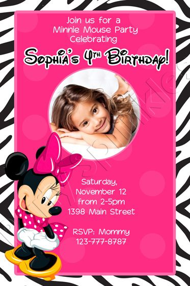 47 best kids character invitations images on pinterest birthday personalized minnie mouse zebra hot pink zebra birthday invitation stopboris Images