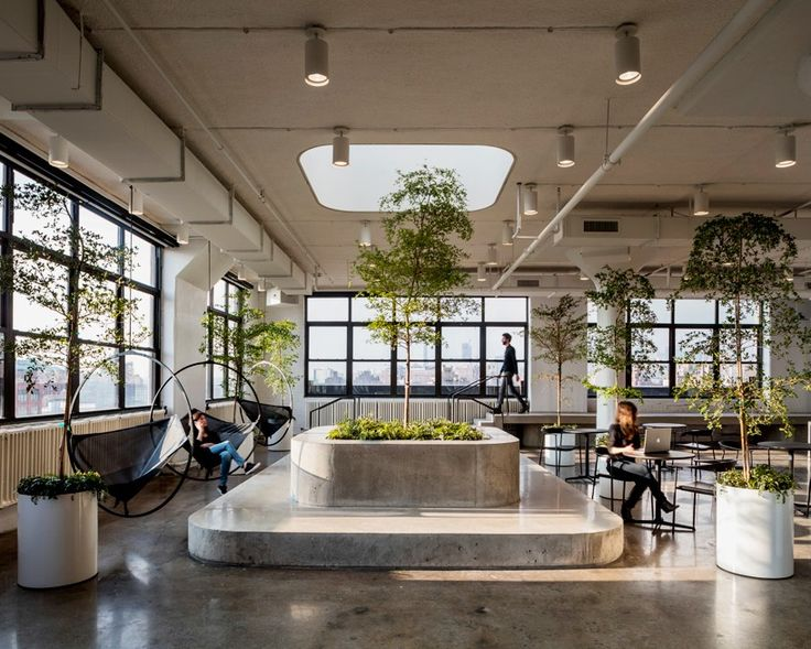 Black and white surfaces indoor trees and a rooftop workspace all feature at the new headquarters for website building service squarespace in new york