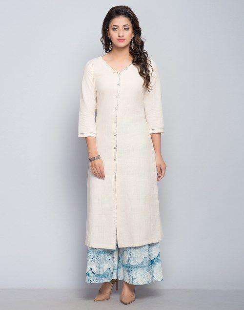 Cotton Khadi Front Open Contrast Top Stitch Long K