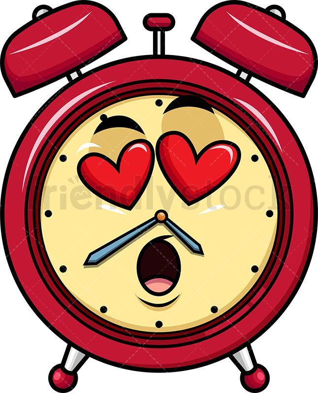 In Love Alarm Clock Emoji Cartoon Vector Clipart Friendlystock Emoji Wallpaper Doodle Art Journals Vintage Alarm Clocks
