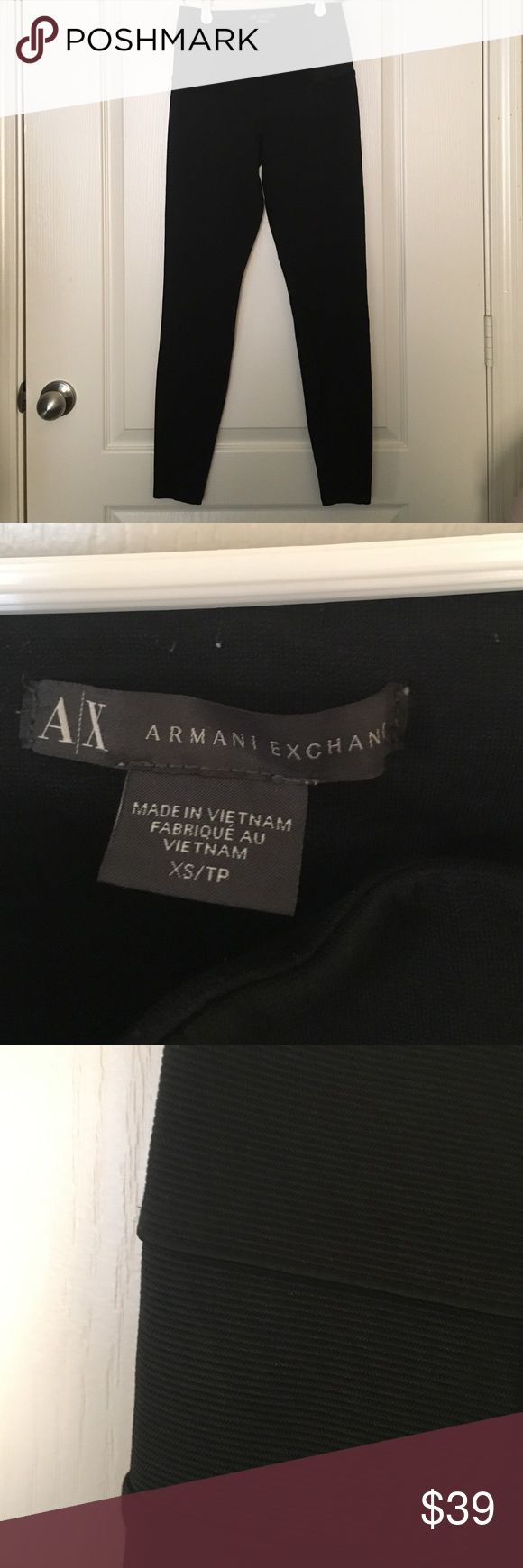 Armani Exchange bonded Ponte pants Leggings  XS Armani Exchange bonded Ponte pants Leggings  XS size XS measurements lying flat waist 12.5 (but they are stretchy as they are leggings), overall length is about 36 inches. With structured seams and an exposed elastic waistband, this sporty ponte pant feels like a legging with a bit more substance. A/X Armani Exchange Pants Leggings