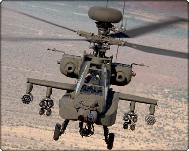 The Apache is the U.S. Army's main gunship/anti-tank helicopter. It is a tough, versatile craft that can operate at night and in bad weather. It has a top speed of about 190 mph, a range of about 300 miles, and carries a powerful arsenal.