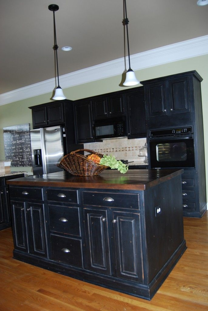 Black distressed kitchen cabinets our new house pinterest Black cabinet kitchens pictures