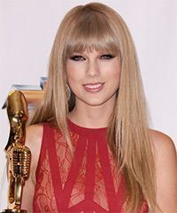 Taylor Swift Long Straight Formal Hairstyle with Layered Bangs  Champagne Blonde…