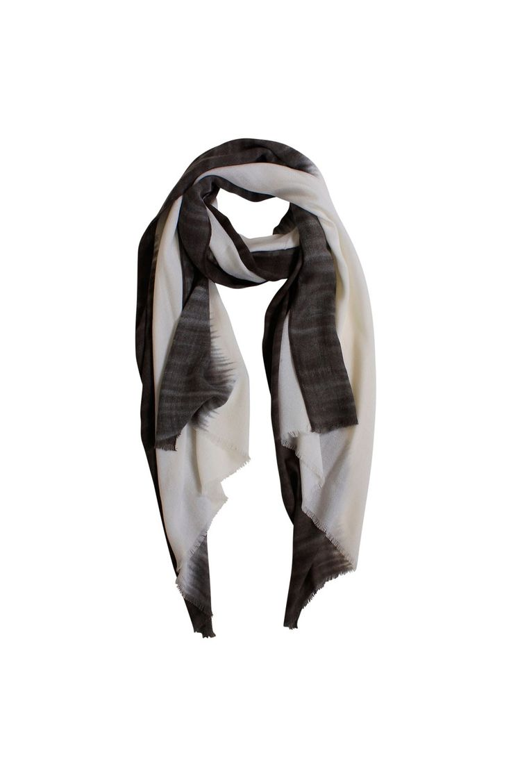 DYED EDGE SCARF $39.95 Colour:Coconut milk & Slate grey Boasting a long lined length, the Tie Dye Edge Scarf features a mix of dark ink and coconut ombre colouring and is designed to be draped around the neck for added warmth.