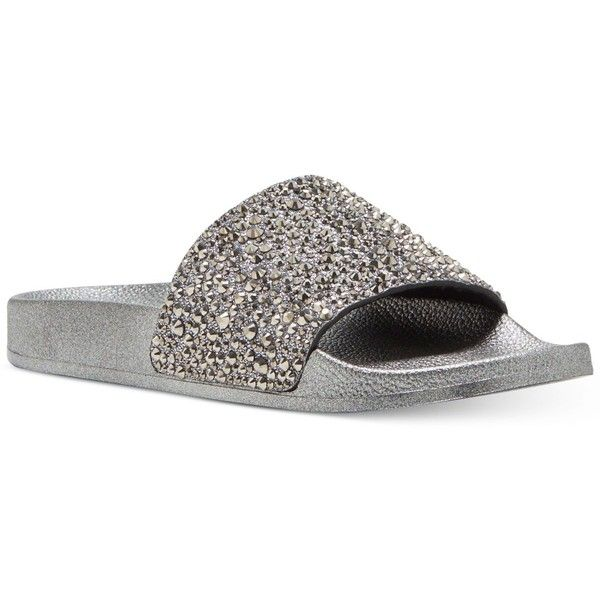 Inc International Concepts Women's Peymin Pool Slide Sandals, ($50) ❤ liked on Polyvore featuring shoes, sandals, pewter, glitter shoes, inc international concepts, slide sandals, inc international concepts shoes and pewter sandals
