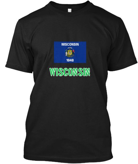 Wisconsin Flag Stencil Green Design Black T-Shirt Front - This is the perfect gift for someone who loves Wisconsin. Thank you for visiting my page (Related terms: I Heart Wisconsin,Wisconsin,Wisconsin,Wisconsin Travel,I Love My Country,Wisconsin Flag, Wisconsin M #Wisconsin, #Wisconsinshirts...)