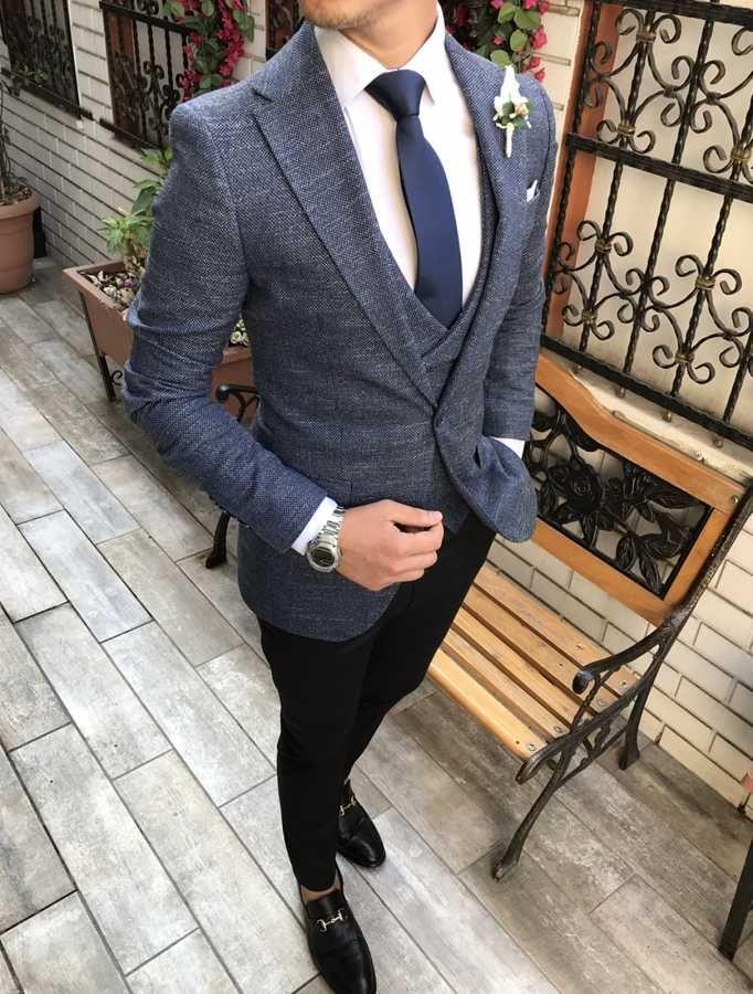 05f2b62684371 Terziademaltun - İtalyan stil erkek ceket yelek pantolon koyu mavi kombin takım  elbise T2738 (1)