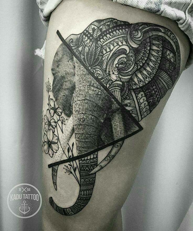 realism + mandala + elephant = <3