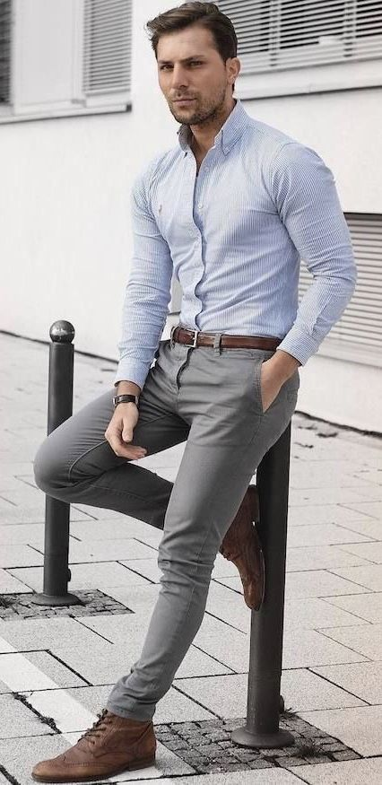 6585755eba726  malikarakurt - with a summer outfit idea with a blue button collar button  up shirt brown leather belt gray trousers dark brown leather banded watch  gray ...