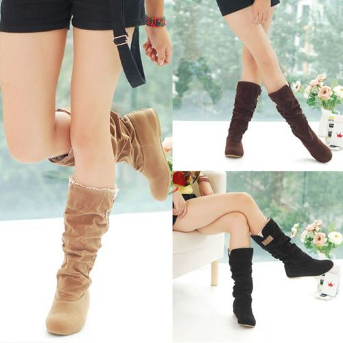 Women-039-s-Flat-Heels-Suede-Leather-Boots-Shoes-Cuff-Slouchy-Mid-Calf-Ladies-New