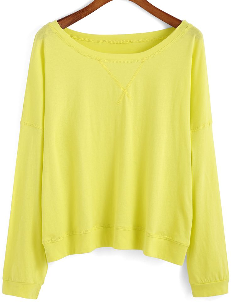 Yellow Round Neck Batwing Sleeve Loose T-Shirt