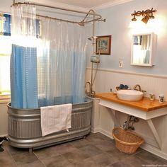 Stock tank shower/tub.