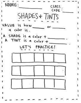 value shades and tints worksheet colored pencils colour black and crayons. Black Bedroom Furniture Sets. Home Design Ideas