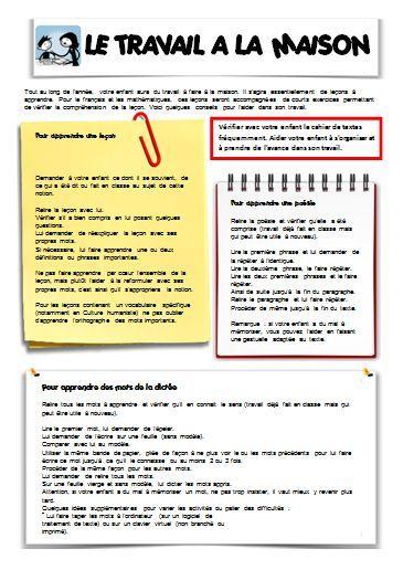 """Garder l'idée d'un """"livret"""" distribué lors de la réunion de rentrée avec les parents : devoirs, idées de lectures, que faire si malade ? ..."""