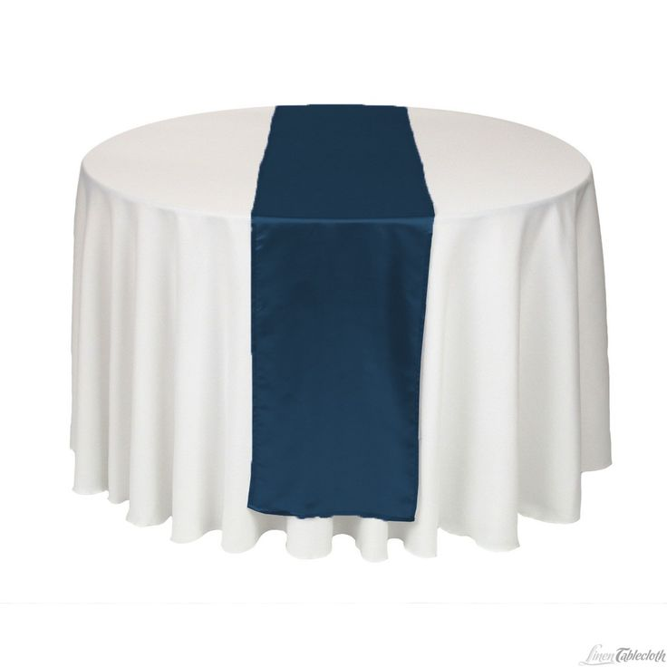 Buy 14 x 108 inch navy blue satin table runner for your wedding at LinenTablecloth! Add satin table runners as finishing touches to your wedding tablecloths or event table linens.