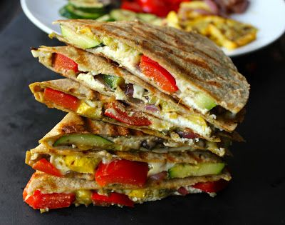 grilled veggie quesadilla with goat cheese and pesto
