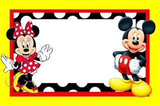 Minnie and Mickey in Red: Free Printable Birthday Candy Buffet Labels.