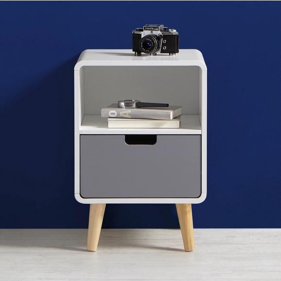 Kompakter Nachttisch In Weiss Und Grau Schick Und Praktisch